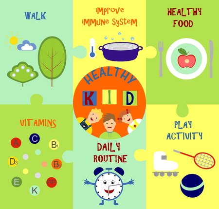 infographic on how to make a baby healthy  イラスト・ベクター素材