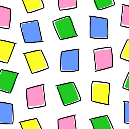 pattern with colored squares outlined with black lines on a white background Illustration