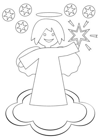 Christmas angel with the star of Bethlehem on a white background
