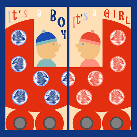 its: boy and girl riding in a red wheelchair. Labels: Its a boy. Its a girl Illustration