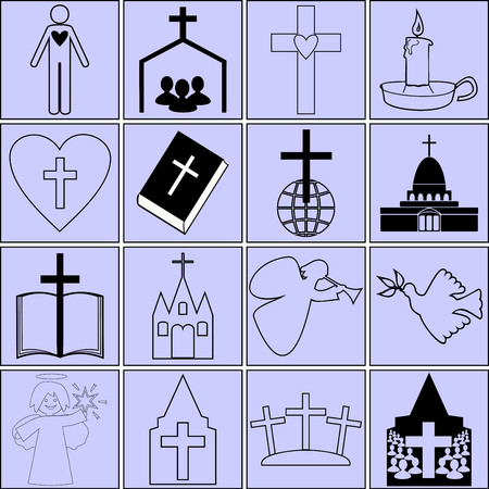 icons on the topic of the Bible and Christianity Illustration