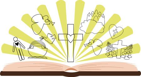 arrepentimiento: Abrir la Biblia con imágenes diferentes en el fondo de los rayos
