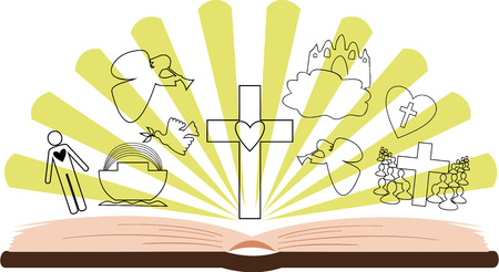 open Bible with different pictures on the background of rays