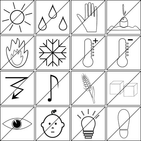 prohibitions: icons with prohibitions of various actions and characters Illustration