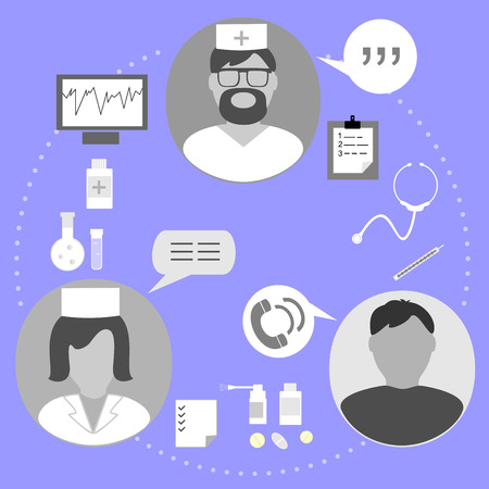medical examination: icons on the topic of medical examination of patient Illustration