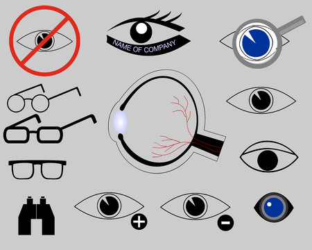 vitreous body: icons on the topic of eyes, structure of eye, glasses