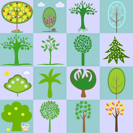 genealogical: icons with different types of trees in different seasons