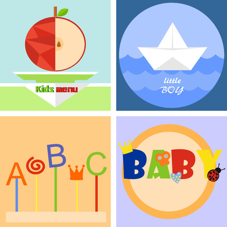 four colorful fun childrens icon or emblem Illustration