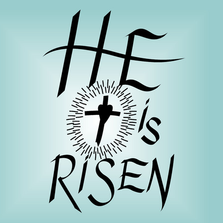 Lettering Bible He is risen near the cross on blue background