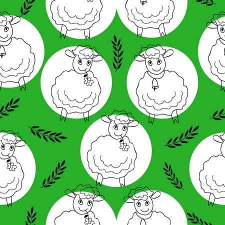 seamless pattern with curly sheep on a green background