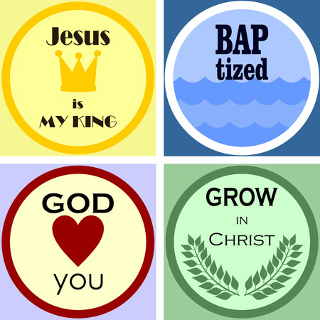 ministration: four colorful Christian and church logo and emblem
