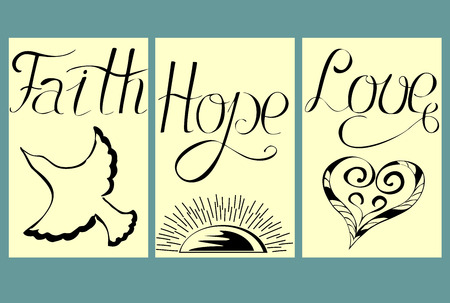 doctrine: three pencil pictures with the words from the hand of Faith, Hope, Love Illustration