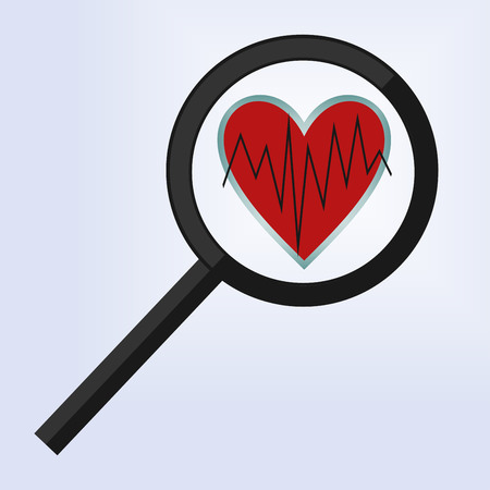 medical evaluation: the magnifying glass is positioned on a heart with a broken line Illustration
