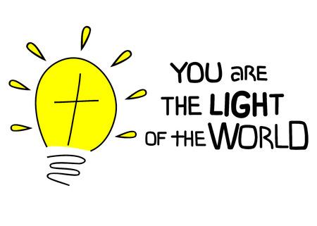 世界の聖書の光のクロスとネオン電球とレタリングを