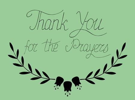 글자 손에서 녹색 배경에 작성,기도에 감사드립니다
