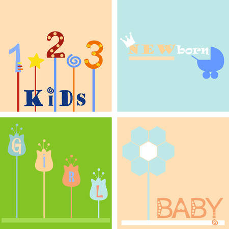 four color childrens background and labels