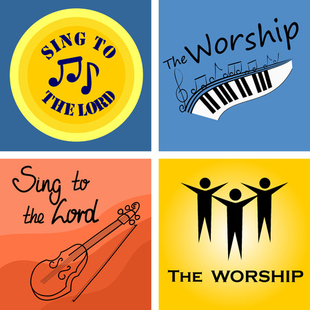 hymn: four color musical for the Church and worship Illustration