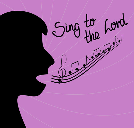 singing silhouette: the silhouette of the person singing and the words Sing to the Lord on a purple background