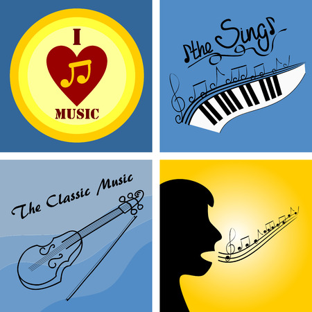 four of the icon on the theme of music and musical instruments Illustration