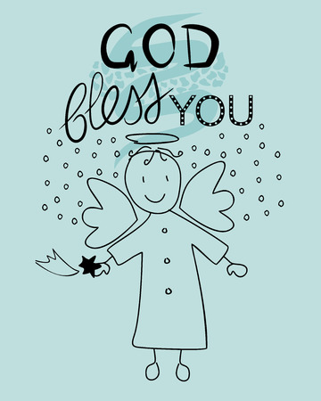 bless: Bible lettering God bless you and little angel with a falling star Illustration