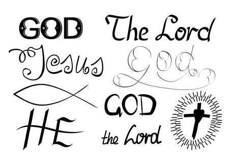 godhead: Biblical symbols and biblical lettering with the words God, Lord, He