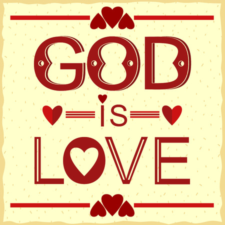 Bible verse God is love in red with hearts Vectores