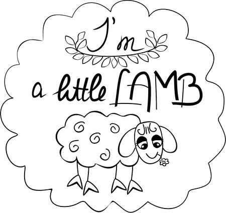 pasturage: the lettering I am small sheep with a hand-drawn funny sheep in black