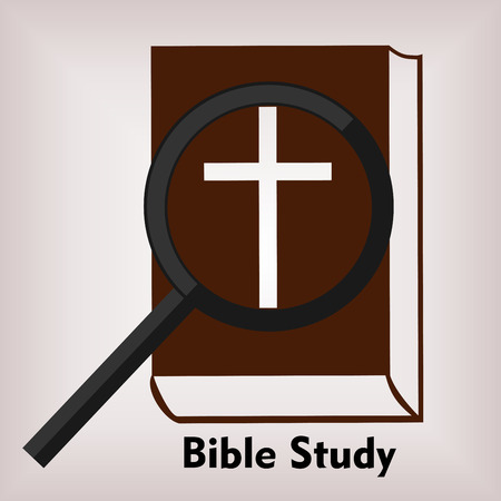 doctrine: Bible with a cross over them with a magnifying glass and the words Bible Study Illustration