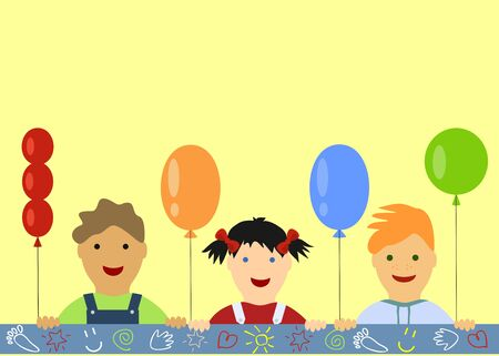 childs birthday party: childrens background with peeking boys and girl and balloons