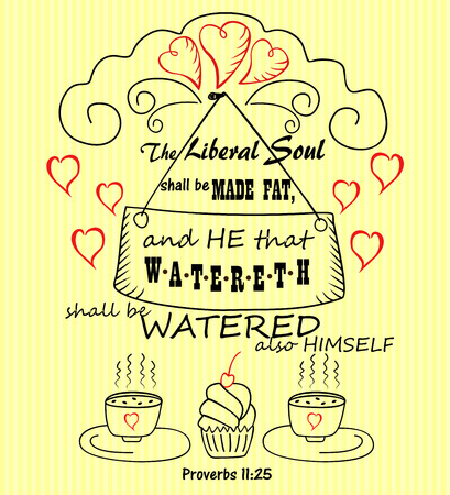 Bible verse from Proverbs Charitable soul on striped yellow background