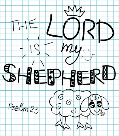 god's cow: the inscription the Lord is my shepherd made from hands on background in the box