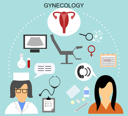 gynecologist: the woman on reception at the gynecologist and various medical icons