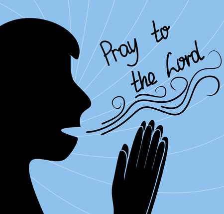 glorify: silhouette of man praying with folded hands, and the inscription Pray to the Lord
