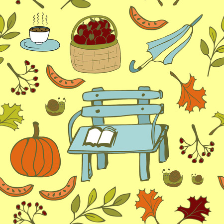 prolific: Cute autumn seamless pattern with autumn bench and other garden items