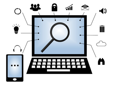 feature: The laptop is induced with at its center a magnifying glass and standing with a mobile phone and different icons Illustration