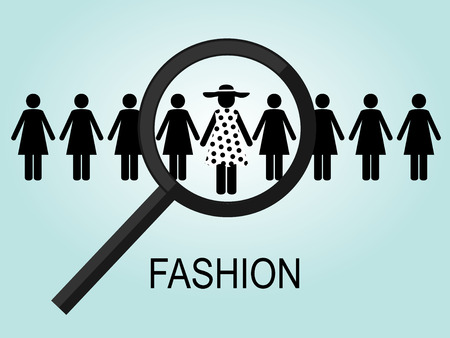 staffing: the choice of a number of black female silhouettes, one in a polka-dot dress and hat Illustration