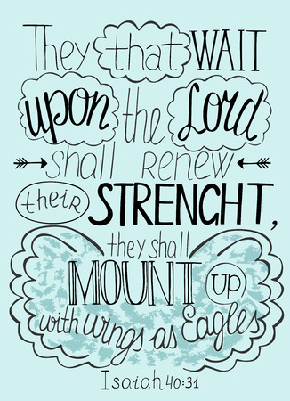 Bible lettering Trust in the Lord will renew their strength Çizim