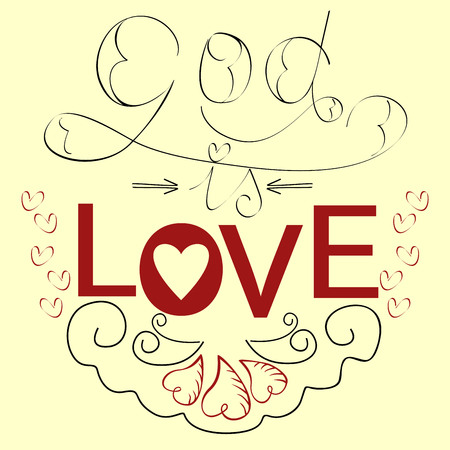 agape: Lettering Bible God is love with hearts in red