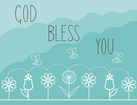Biblical background with flowers and the words God bless you Illustration