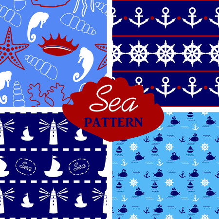 billow: four seamless marine pattern in white, blue, red colors