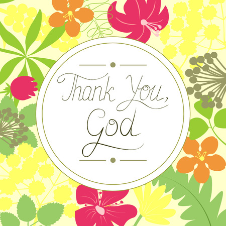 Handwritten Thank You God, made on floral background Vettoriali