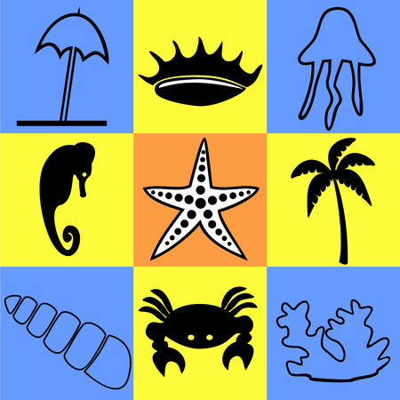 torrid: nine of icons on a theme of the sea and marine life