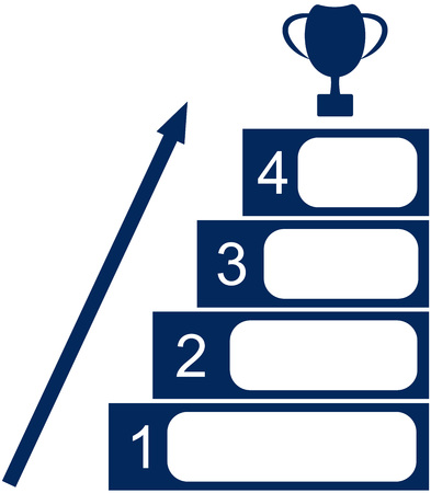 cup four: illustration of the four stages to success and the Cup upstairs