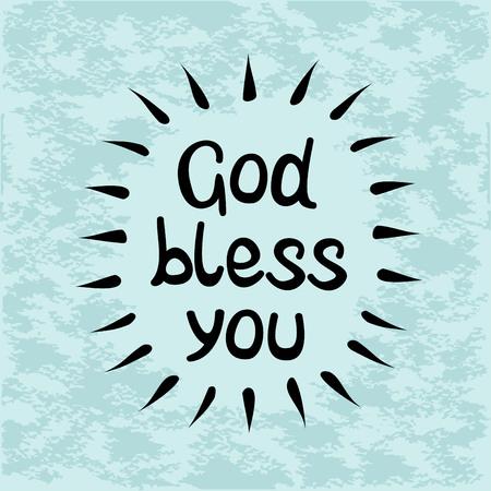 Bible lettering God bless you, handwritten on a blue background Illustration