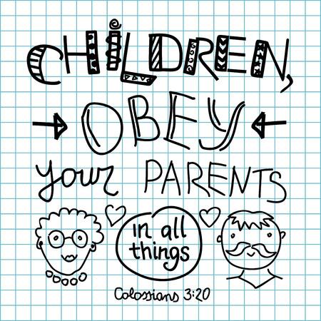 obedecer: Letras de la Biblia para niños, obedezcan a sus padres hicieron en un fondo a cuadros