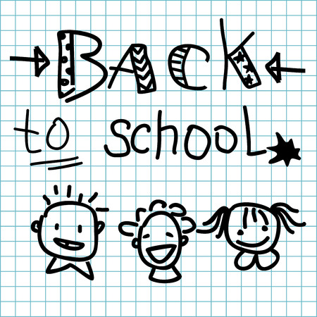 grid paper: inscription Back to school made on grid paper background and smiling boys, girl