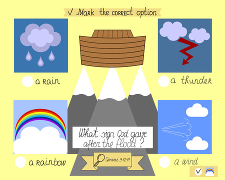 the lesson and the task for kids from the old Testament about the ark and the rainbow. The childrens Ministry. Sunday school.
