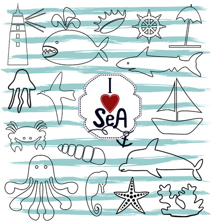 influx: contour marine icons with sea creatures and the ocean and next to the inscription I love the sea