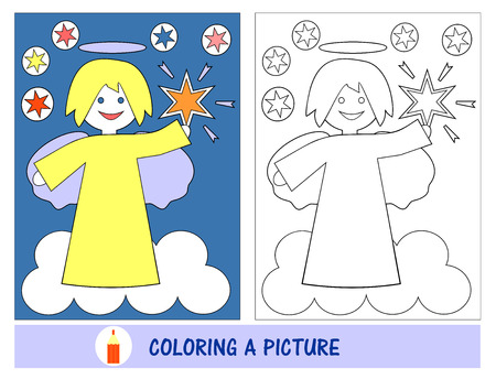 leisure time: Baby job and leisure time in painting the picture of an angel with the stars in the sky. Sunday school. The childrens Ministry. Illustration