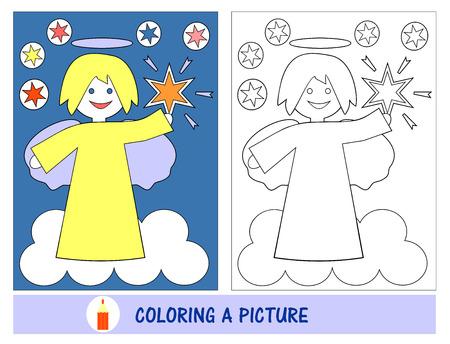 emploi et loisirs Bébé temps à peindre l'image d'un ange avec les étoiles dans le ciel. L'école du dimanche. Ministère des enfants.